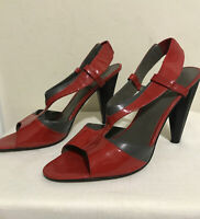 Nine West Dollface Red Gray Patent Leather T-strap Slingback  Cone Heel  Size 9