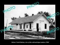 OLD LARGE HISTORIC PHOTO OF INKSTER NORTH DAKOTA, RAILROAD DEPOT STATION c1960