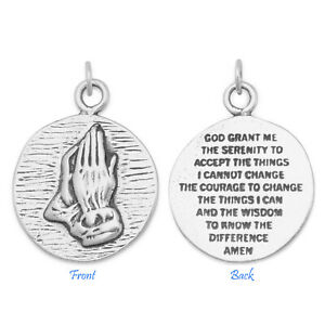 Praying Hands Serenity Prayer Back 925 Sterling Silver Charm Pendant Medallion