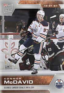 2021-22 TOPPS NOW NHL STICKER EDMONTON OILERS CONNOR McDAVID #34 200/201th GOAL