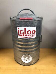 Igloo Galvanized Metal 3 Gallon Vintage Drinking Water Cooler Texas Original Box