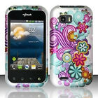 For T-Mobile LG myTouch Q Rubberized HARD Case Phone Cover Purple Blue Flowers