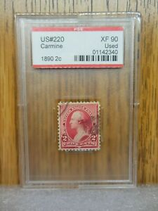 US # 220 1890 2 Cent Carmine PSE Graded XF 90 Used   FREE US Shipping