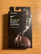 Nike Youth Elite Uv Basketball Sleeves Black / Green Size L/Xl
