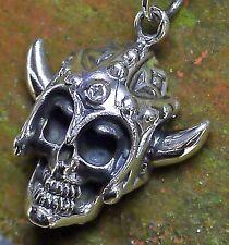 edler Skull Totenkopf Anhänger 925 Silber 3D Wikingerhelm  Bikerschmuck Harley