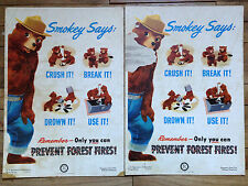Vintage Smokey The Bear Forest Fire Prevention Poster 1951