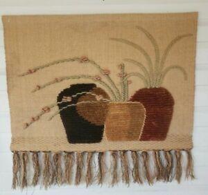 "ICA 1987 tapestry weaving wall hanging art Jute Wool 36"" x 40""  Macrame Hanging"
