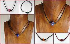 Modeschmuck-Halsketten aus Leder und gemischten Metallen