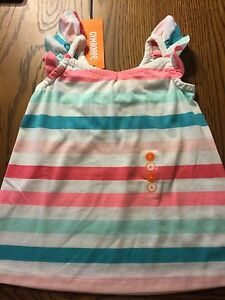 NWT Gymboree Girls Ice Cream Parlor Strawberry Sherbet Striped Tank Top Size 6