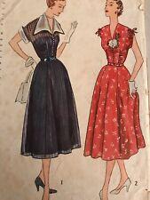 """Simplicity 3262 DRESS Sewing Pattern Bust 42"""" Hip 45"""" Circa 1950 Detach Collar"""