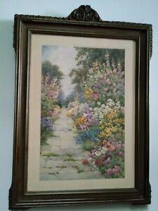 Antique English Garden Print by Raphael Tuck&Sons after FloraM Pilkington Framed