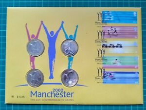 GB 2002 Commonwealth Games 4 x £2 Coin Royal Mail Mint Numismatic PNC FDC