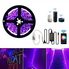 Schwarzlicht LED UV led Strip Streifen Deko Lila Lichterkette WIFI APP Dimmer