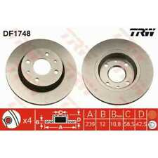 TRW 2x Bremsscheiben Voll lackiert schwarz DF1748