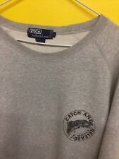 VTG POLO RALPH LAUREN CREWNECK GREY SWEATER CATCH AND RELEASE LARGE FISHING