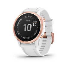 Garmin Fenix 6S Multisport Rose Gold-tone with White Band Gps Watch Pro Edition