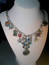 """KIRKS FOLLY EXTREMELY RARE/SIGNED """"ALICE IN WONDERLAND CHARM NECKLACE"""" FABULOUS"""