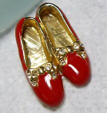 Glossy Enamel & Rhinestone RUBY SLIPPERS Shoes Pin BROOCH