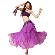 New Chiffon Dancing Costume Belly Dance Spiral  3 Layers Skirt Top Belt 8 Colors