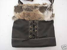 KOHL'S APT. 9 WOMENS FAUX LEATHER HANDBAG PURSE BROWN W/FUR NWT