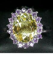 925 STERLING SILVER 5.70 CTW CITRINE & AMETHYST RING SIZE N