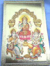 BILD GANESHA Lakshmi Prägedruck  Kunststoff glitzernd sehr edel 8,5x5,5cm (mini2