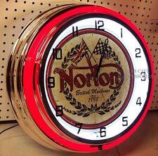 "18"" NORTON Motorcycles British Machines Since 1898 Sign Double Neon Clock"