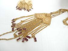 Vintage Open Back Prong Set Amethyst Crystal Glass Earrings 3 Chain Neckace