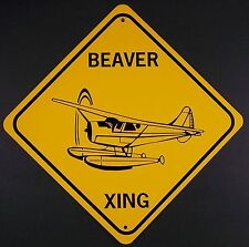 BEAVER XING Aluminum DeHavilland Airplane Sign