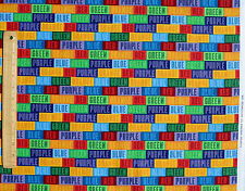 BRIGHT COLORS RAINBOW BLOCKS KIDS  QUILTING TREASURES 100% COTTON FABRIC YARDAGE