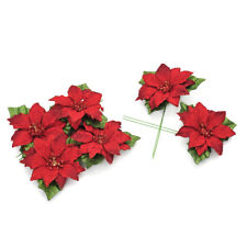 Pack of 6 Red Glitter Poinsettia Pick - 7cm - Christmas Decoration Picks