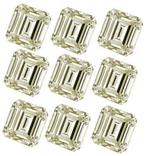 6.02ct VVS1-8pc-0.60-1.00ct=off white COLOR LOOSE EMERALD REAL MOISSANITE/ring