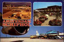 AMSTERDAM Airport Flughafen Schiphol, Flugzeuge KLM Airline, color Mehrbild-AK
