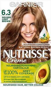 Garnier Nutrisse 6.3 Golden Light Brown Hair Dye Permanent, Grey Hair Coverage