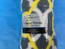 "Mainstays 50"" X 60"" Fleece Throw Blanket Yellow Grey Design Home Decor"