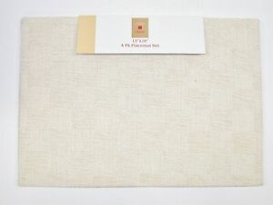 """(4) Lintex 100% Cotton Reversible Placemats ~ Optical Ivory ~ 13"""" x 19"""" NEW"""