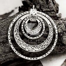 3pcs Antique Tibetan Silver Charm Pendants Craft Jewelry Flat Round 49x45mm