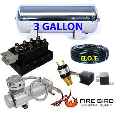 "3 Gallon Stainless Air Tank 5pt compressor air suspension 3/8"" hose Manifold xzx"
