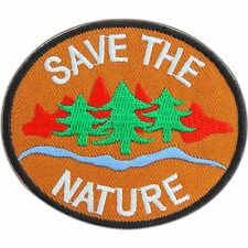 SAVE THE NATURE Tree Woodland Love Earth Ecology Symbol Brown Iron-On Patch 0803