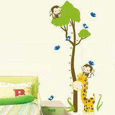 Monkey Giraffe Tree Height Chart Measurment Kids Room Wall Decals Vinyl Stickers