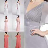 US Ever-Pretty Plus Size Long Chiffon V Neck Bridesmaid Dress Wedding Party Gown