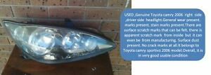 TOYOTA CAMRY 2006  HEADLIGHT GENUINE ACV36R USED SPORTIVO RIGHT,DRIVER SIDE