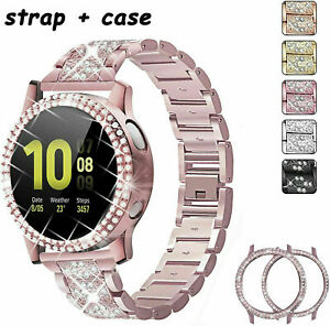 Bling Metal Watch Band Cover For Samsung Galaxy Watch Active 2 40mm 44mm Strap