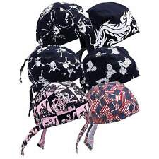 6pc Assorted Cotton Skull Cap Set Do Rag Biker Head Wrap Bandana GFSKULL3