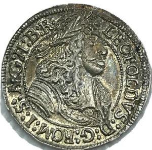1690 AUSTRIA 3K 3 KREUZER HALL FINEST ANTIQUE TONED KNOWN UNC Coin