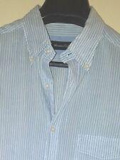 MASSIMO DUTTI Blue/White Stripe B/D Collar Button-Front Casual Shirt Sz. L