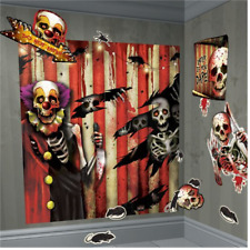 HALLOWEEN Scene Setter Wall decoration Carnival Scary Clown 1.7m with Cutouts