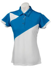 New Ladies Golf Shirt - Golf Polo - Micro Dry - Crest Link Blue/White - X-Large