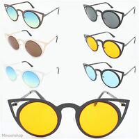 Round Lens Cat Eye Women Sunglasses Vintage Retro 80's Invader