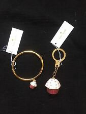 Kate Spade Cupcake Bracelet And Key Chain Fob Lot Of 2 NWT Free Shipping